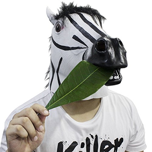Zebra Maske, Cusfull Latex Zebramaske Zebra Headmaske Kopfmaske Tiermaske Erwachsenen Kostüm Zubehör für Halloween Fasching Karneval (Zebra Kostüme Kopf)