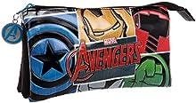 Los Vengadores Estuche Tres Compartimentos , Color Negro, 1.32 Litros