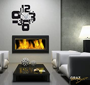 sticker mural décoration avec horloge nombre rétro cube pour le