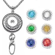 Soleebee 87cm Chaîne en argent interchangeable strass colorés ciselée ID  Badge Lanyard Collier avec 6pcs Boutons cbf9d02c811