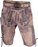 Almwerk Herren Trachten Lederhose kurz hellbraun Modell Max mit grünem Stick, Größe Herren:58 - 4XL - Bundweite 105-109 cm