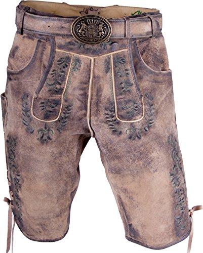 Almwerk Herren Trachten Lederhose kurz hellbraun Modell Max mit grünem Stick, Größe Herren:48 - M - Bundweite 82-85 cm