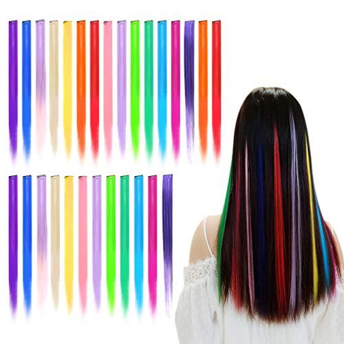 baotongle Farbiger Haarverlängerungs Clip Regenbogen Perücke Gerade Party Clip Synthetisch Haarteil für Kinder Mädchen, Damen