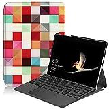 HereMore Microsoft Surface Go Hülle Case, Ultra Schlank PU Leder Schutzhülle Tasche Etui Ständer Cover mit Stylus-Halterung für Microsoft Surface Go 10 Zoll Tablet-PC, Würfel