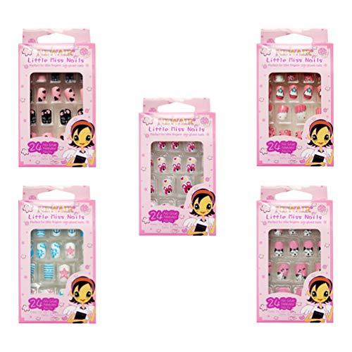 Minkissy - set di unghie finte per bambini, 120 pezzi, motivo: cartoni animati, copertura completa, idea regalo per natale per ragazze (stile casuale)