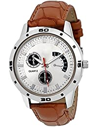 DLG Festival Special Collection Brown Round White Dial Brown Leather Strap Watch For Boys And MenDLG-Ar_203Br
