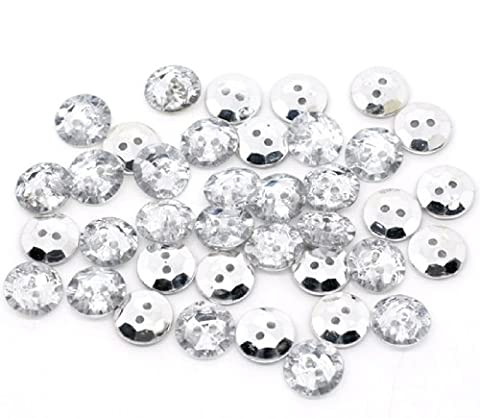 50 x 15mm Plastic Crystal Faux Diamond Look Round Buttons with 2 Sewing Holes and a Silver Plated Back. Uses can include Sewing onto Clothes, Blinging up things, Jewellery, etc.