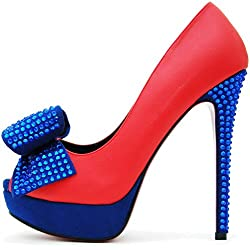 ROSELIGHT Peep Toes Pumps mit Schleife (36, Rot)