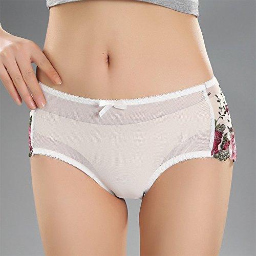 Eastlion 5 Pack Damen Spitzen Stickerei Slips Schlüpfer Unterwäsche Shorts Farbe 31