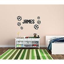 Personalizado con nombre y balones de fútbol pared arte niños habitación infantil adhesivo Mural de vinilo, 310mm
