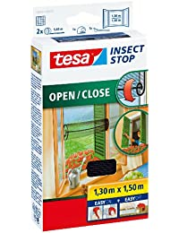 tesa Insect Stop COMFORT Open/Close Fliegengitter Fenster zum Öffnen & Schließen - Insektenschutz Rollo selbstklebend + 1 Fliegenfänger gratis