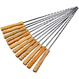 Wooden Handle BBQ Forks By Redsign | Outdoor Barbecue Pin | Lamb Skewers Roast Meat Fork Barbecue Tools | Kebab Needles Stick Stainless Steel | Skewer With Wooden Handle | Barbecue Accessories | BBQ Forks Camping Campfire Stainless Steel Wooden Handle | B