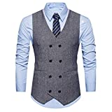 Winterjacke Herren Manadlian Männer Warm Vest Formal Tweed Scheck doppelt Breasted Weste Retro Slim Fit Passen Jacke