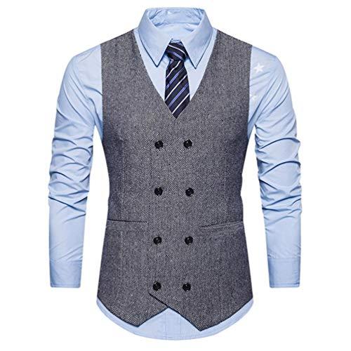 Winterjacke Herren Manadlian Männer Warm Vest Formal Tweed Scheck doppelt Breasted Weste Retro Slim Fit Passen Jacke