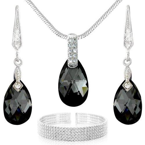 Schönes Schwarz-Weiß Schmuckset Halskette Ohrringe und Armband - silber und schwarze Swarovski Elements - Halskette Schwarz-silber-ohrringe