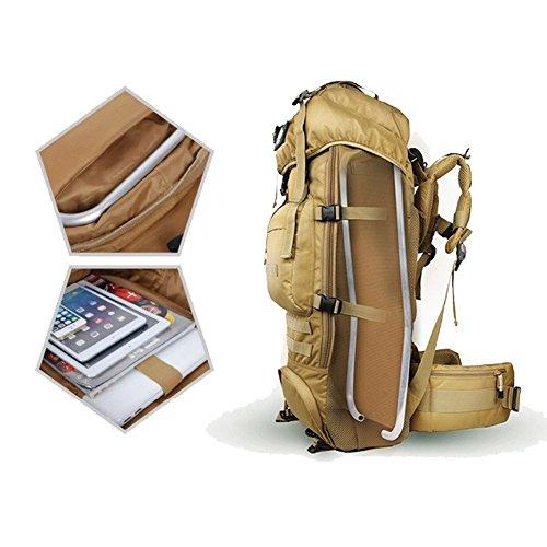 YAAGLE Outdoor Reisetasche Geheimdienst Armee Fans groß Fassungsvermögen Rucksack Gepäck Camping Bergsteigen Taschen army yellow