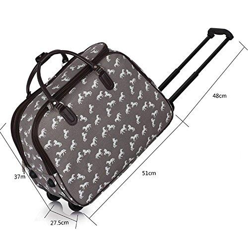 Meine Damen Reisetaschen Holdall Frauen Handgepäcks Pferd Print Wochenende Rolliges Laufwerk Handtasche Grau
