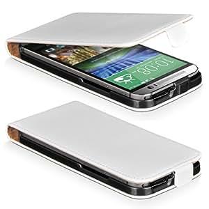 DONZO Handyhülle Flip Cover Case für das HTC One M8 in Weiß Flip Smooth Magnetic als Etui seitlich aufklappbar im Book-Style