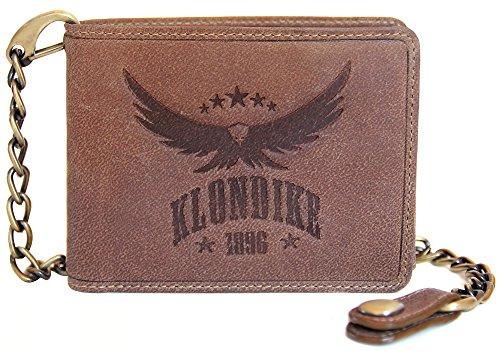 """Klondike 1896 Geldbörse mit Kette aus echtem Leder """"Harry Eagle"""" hochwertiges Echtleder Portemonnaie für Herren, braun (Western Geldbörse Flache)"""