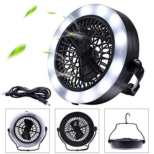 QWQ69 Ventiladores portátiles Luces LED para Acampar Ventiladores Linterna con Gancho de...