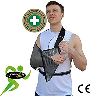 Armschlinge Ultra Comfort Armstütze (schwarzes Rand), wendbar, Größe L oder R, leicht, luftdurchlässig, luxuriös weiche Kühlung. Hüftgurt sichert den Arm sicher am Körper. Unisex.