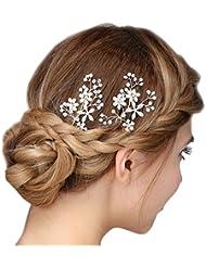 Faybox Bridal - Horquillas de flores con perlas y brillantes para novia