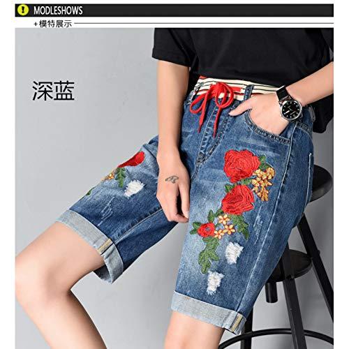DBLSHA Elastische Taille Loch Denim Kurze Hose Frauen Lose Sommer Shorts Bestickte Blumen Jeans Frau - Elastische Taille Bestickte Jogginghose