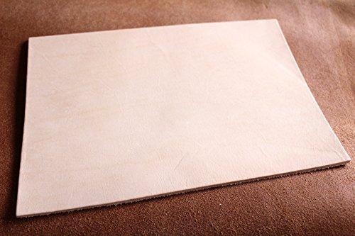 Echtes Dickleder, 18x26,5 cm großer Zuschnitt, Lederstück, Blankleder, Punzierleder - kräftige, pflanzlich / vegetabil gegerbte Rindleder, Vollrindleder mit ca. 3,2-3,5 mm Stärke und echtem Narbenbild