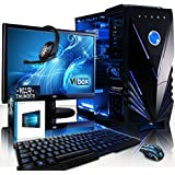 VIBOX Apache Paquet 9SW Gaming PC - 4,1GHz AMD FX 6-Core CPU, GPU GTX 1050 Ti, Avanzado, Ordenador de sobremesa para oficina Gaming vale de juego, con monitor, Windows 10, Iluminaciàn interna azul (3,5GHz (4,1GHz Turbo) Super rápido AMD FX 6300 6-Core Procesador CPU, Nvidia Geforce GTX 1050 Ti 4 GB Tarjeta gráfica GPU, 8 GB Memoria RAM de DDR3, velocidad de RAM: 1600MHz, 1TB (1000GB) Sata III 7200 rpm disco duro HDD, Raijintek Aidos aire refrigerador de la CPU, 85+ PSU, Caja de Vibox azul)