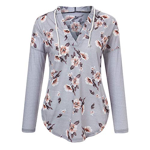 (BHYDRY Womens Printing Langarm V-Ausschnitt Lässige Lose T-Shirts Hoody Tops(X-Large,Grau)