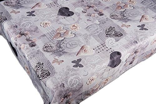 Nappe antitache Motif coeurs et papillons Couleurs printanières Décoration de la maison 350 x 150