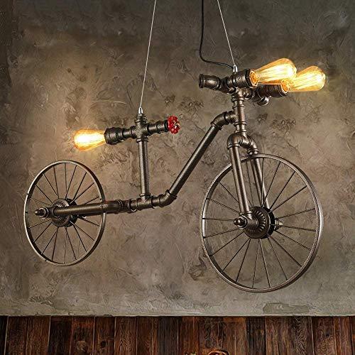 MJW Retro Industrial Lámpara Colgante, Tres Cabeza Bicicleta Forma Bicicleta Dos Ruedas Araña De Hierro, Cocina Creativa/Restaurante/Granja/Bar Luz De Techo
