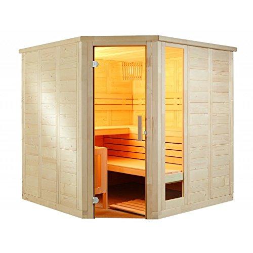 Komfort Corner Large 234x206x204cm Saunakabine Fichtenkabine mit Linden-Einrichtung ohne Technik