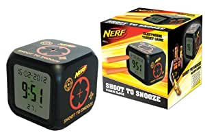 Nerf Black Shoot to Snooze LCD Alarm Clock
