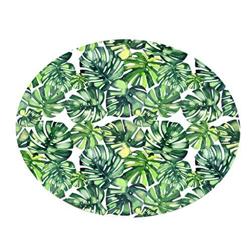 Bodenmatte Round Serria® Tropische Pflanzenblätter Stil Drucken Fußabtreter Schmutzfangmatte und Sauberlaufmatte Fußabstreifer für Außen und Innen Durchmesser:60 cm F - Teppich Wieder Läufer Gummi