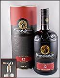Bunnahabhain 12 Jahre Islay Single Malt Whisky mit einem Flaschenportionierer aus Echtglas mit Naturkorkaufsatz, kostenloser Versand