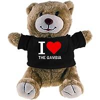 Multifanshop Kuscheltier Bär Classic I Love The Gambia beige - Lustig Witzig Sprüche Party Stofftier Püschtier
