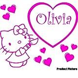 Hello Kitty Herz mit Ihrem Wunsch-Namen, 60 x 50 cm, name personalisierbar, Pink, Kinderzimmer, Kinder, Kinderzimmer, Wandtattoo, Vinyl, Fenster und Auto-Aufkleber Wand Windows ThatVinylPlace Wandtattoo, Art -