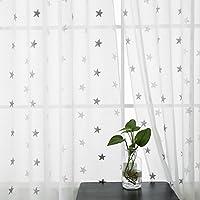 Deconovo Cortinas Salón Moderno Hogar Visillo Bordado de Estrella con Ollaos 2 Unidades 140 x 180 cm Blanco y Gris