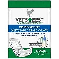 Vet's Best Pañales desechables para perro con indicador de humedad, ajuste confortable