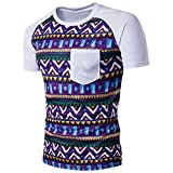 Bluester Mens Cotton Short Sleeve Retro Printed Shirt / Mens Shirts D (L, White)