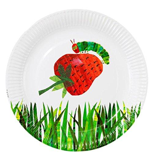 erdbeerloft - Party Dekoration- Kindergeburtstag Raupe Nimmersatt Papier Teller, 23cm, 12 Stück, Mehrfarbig Papier-armbänder Für Ereignisse
