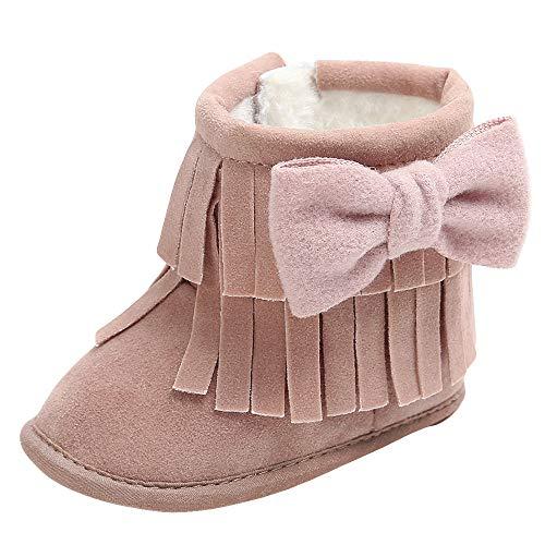 QinMM Baby Halten Warme Stiefel Bowknot Doppeldeck Quasten Weiche Schnee Weiche Krippe Schuhe Herbst Winter Pullover Für 0 Monate-18 Monate (0~6 Month, Lila) (Schuhe Krippe Converse Baby)