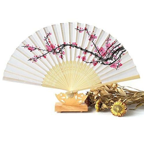 homiki Fan Ladies faltbar mit Rahmen Blossom Lüfter hochklappbaren aus Bambus, Kirschblüten und Schmetterlinge Lenkrad unter den Blumen Pattern