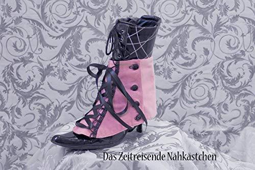 Gamaschen aus Samt, mit Schürung, rosa, Victorianisch, Steampunk