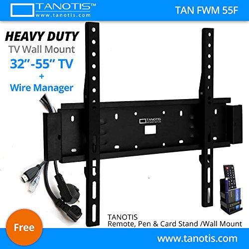 """Tanotis Elite F400 Fixed TV Wall Mount with Wire Manager for LCD LED TV Supports 32 to 55"""" inch, upto 400mm VESA, 45.5Kgs Extreme Heavy Duty TAN FWM 55F + Free TANOTIS Remote Stand TAN ACC RMS"""