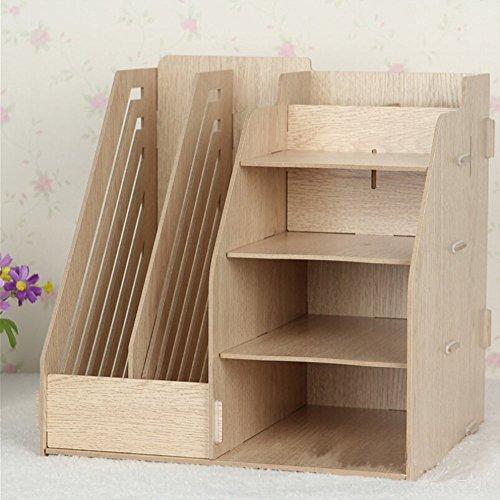 Hensych® organizador de madera de escritorio, estante de almacenamiento, 2ranuras para archivos de papel /revistas y 4compartimentos, color Original