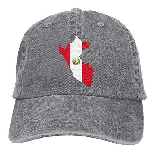 Presock Peru Flag Map Cowboy Caps Unisex Adjustable Trucker Baseball Hat Gray Peru Hat Earflap