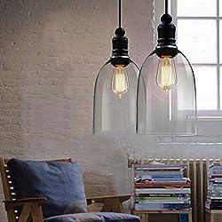 Vintage–Lámpara de techo colgante de cristal transparente lámpara de forma de campana para lámpara (E27, bombilla no incluida)