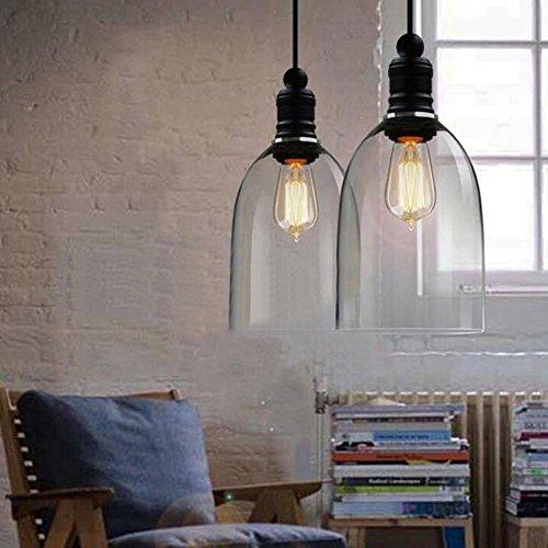 Lámpara de techo colgante, estilo vintage, cristal transparente, forma de campana, casquillo...